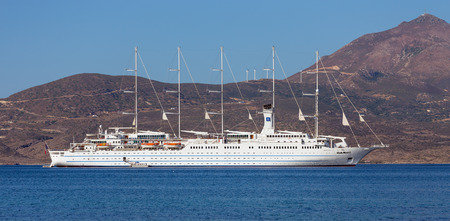 med: Cruise ship Club Med 2 anchored in Milos island bay, Greece on August 18, 2015.