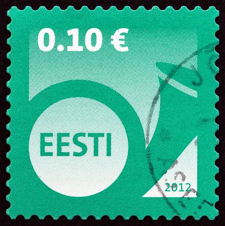 posthorn: ESTONIA - CIRCA 2012: A stamp printed in Estonia shows Post Horn, circa 2012. Editorial