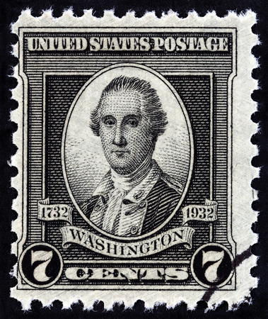 founding fathers: USA - CIRCA 1932: A stamp printed in USA from the 200th Anniversary of the Birth of George Washington  issue shows George Washington By John Trumbull, 1780, circa 1932.
