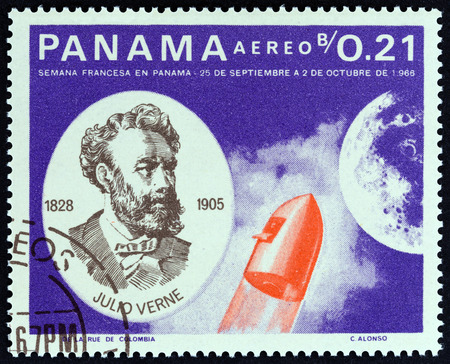 PANAMA - CIRCA 1966: A stamp printed in Panama from the Jules Verne. French Contribution to the Exploration of Outer Space  issue shows Jules Verne and rocket, circa 1966.
