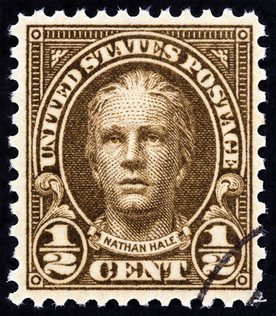 hale: USA - CIRCA 1925: A stamp printed in USA shows Nathan Hale, circa 1925.