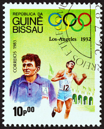 GUINEA-BISSAU - CIRCA 1983: A stamp printed in Guinea-Bissau from the Olympic Games, Los Angeles 1932 and 1984  issue shows Marathon, Juan Carlos Zabala, Argentina, circa 1983.