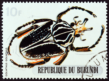 estampilla: BURUNDI - CIRCA 1970: A stamp printed in Burundi from the Beetles  issue shows Goliathus goliathus, circa 1970.