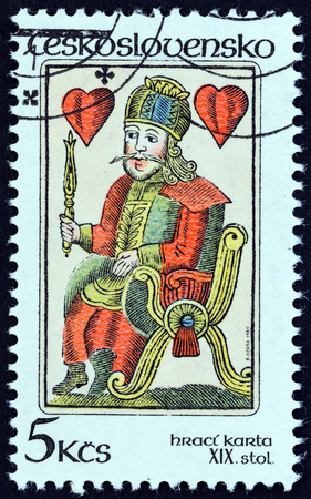 king of hearts: CZECHOSLOVAKIA - CIRCA 1984: A stamp printed in Czechoslovakia from the Playing Cards  issue shows King of Hearts 19th century, circa 1984.