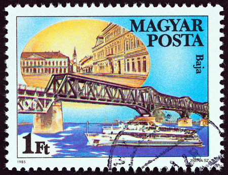 magyar: HUNGARY - CIRCA 1985: A stamp printed in Hungary from the Danube Bridges  issue shows Baja, Hungary, circa 1985.