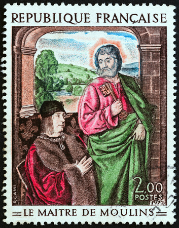 alcohol series: FRANCE - CIRCA 1972: A stamp printed in France from the French Art  issue shows St. Peter presenting Pierre de Bourbon Master of Moulins, circa 1972.