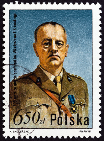centenary: POLAND - CIRCA 1981: A stamp printed in Poland issued for the Birth Centenary of Wladyslaw Sikorski shows General Wladyslaw Sikorski, circa 1981.