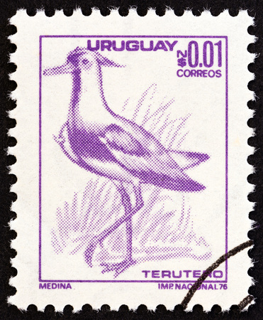 estampilla: URUGUAY - CIRCA 1976: A stamp printed in Uruguay shows Southern Lapwing Vanellus chilensis, circa 1976. Editorial