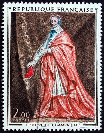 champaigne: FRANCE - CIRCA 1974: A stamp printed in France from the Arphila 1975 Stamp Exhibition. French Art  issue shows Cardinal Richelieu Philippe de Champaigne, circa 1974. Editorial