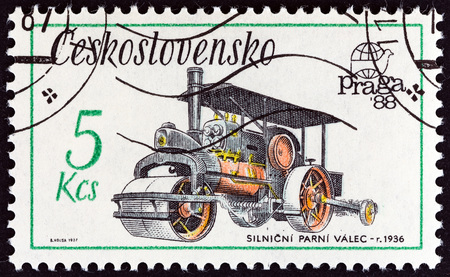 steam roller: CZECHOSLOVAKIA - CIRCA 1987: A stamp printed in Czechoslovakia from the Praga 88 International Stamp Exhibition. Technical Monuments  issue shows Steam roller, 1936, circa 1987.