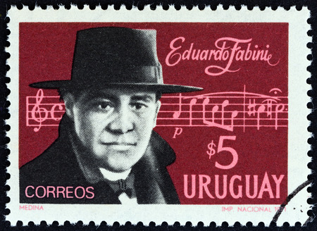 URUGUAY - CIRCA 1971: A stamp printed in Uruguay issued for the 21st death anniversary of Eduardo Fabini shows composer Eduardo Fabini, circa 1971. Editorial