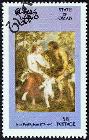 sello: STATE OF OMAN - CIRCA 1972: A Cinderella stamp printed in Oman shows Peter Paul Rubens painting, circa 1972.
