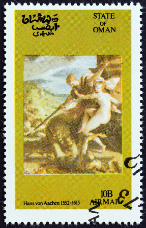 timbre: STATE OF OMAN - CIRCA 1972: A Cinderella stamp printed in Oman shows Hans von Aachen painting, circa 1972. Editorial