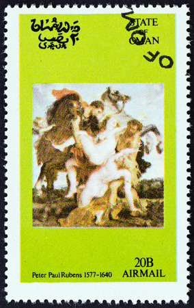 timbre: STATE OF OMAN - CIRCA 1972: A Cinderella stamp printed in Oman shows Peter Paul Rubens painting, circa 1972.