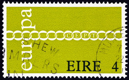 europa: IRELAND - CIRCA 1971: A stamp printed in Ireland from the Europa  issue shows Europa Chain, circa 1971.