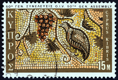 kuropatwa: CYPRUS - CIRCA 1970: A stamp printed in Cyprus issued for the 50th General Assembly of International Vine and Wine Office shows Grapes and Partridge mosaic, Paphos, circa 1970.