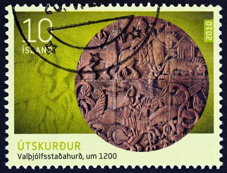 craftmanship: ICELAND - CIRCA 2010: A stamp printed in Iceland from the Icelandic Craftmanship II  issue shows Door of Valthjofsstadhir, circa 2010.