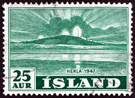 hekla: ICELAND - CIRCA 1948: A stamp printed in Iceland shows Mt. Hekla in Eruption, circa 1948.