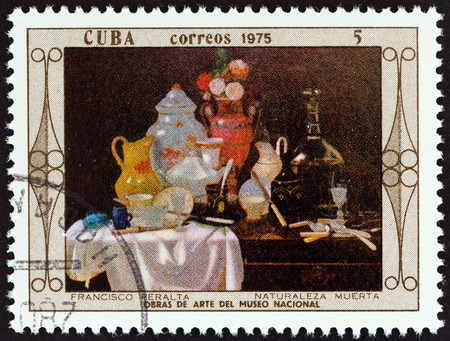 CUBA - CIRCA 1975: A stamp printed in Cuba from the National Museum Paintings  issue shows Still Life Francisco Peralta, circa 1975. Editorial
