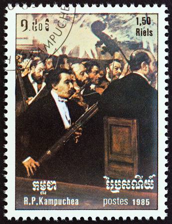 kampuchea: KAMPUCHEA - CIRCA 1985: A stamp printed in Kampuchea from the International Music Year  issue shows Opera Orchestra by Edgar Degas, circa 1985.