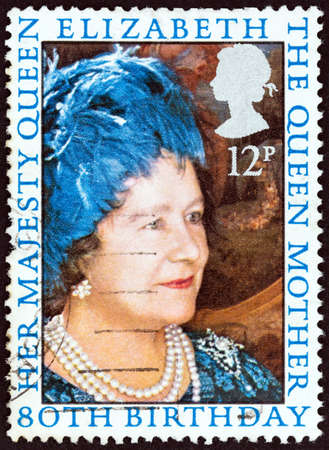 queen elizabeth: UNITED KINGDOM - CIRCA 1980: A stamp printed in United Kingdom issued for the 80th birthday of the Queen Mother shows Queen Elizabeth, circa 1980. Editorial