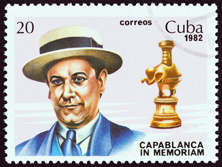 sello: CUBA - CIRCA 1982: A stamp printed in Cuba issued for the 40th death anniversary of Jose Capablanca shows World chess champion Jose Raul Capablanca and rook, circa 1982.