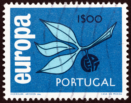 europa: PORTUGAL - CIRCA 1965: A stamp printed in Portugal from the Europa  issue shows Europa Sprig, circa 1965.