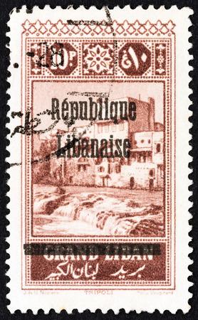 provisional: LEBANON - CIRCA 1927: A stamp printed in Lebanon shows Tripoli, circa 1927. Editorial