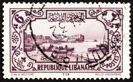 tyr: LEBANON - CIRCA 1930: A stamp printed in Lebanon shows Tyre harbor, circa 1930.