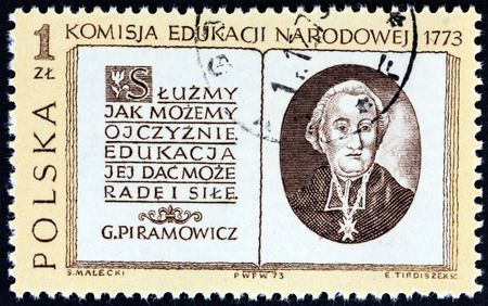 timbre: POLAND - CIRCA 1973: A stamp printed in Poland issued for the bicentenary of National Educational Commission shows Grzegorz Piramowicz and Title Page, circa 1973.