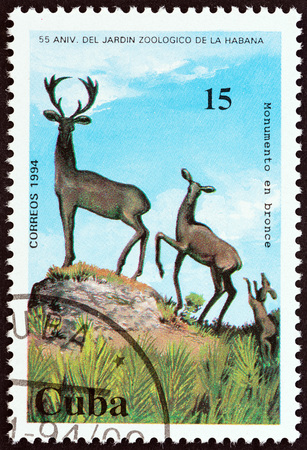 CUBA - CIRCA 1994: A stamp printed in Cuba from the 55th anniversary of Havana Zoo  issue shows Bronze Statues of Deer, circa 1994.