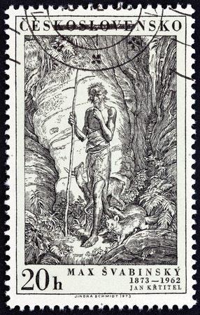 centenary: CZECHOSLOVAKIA - CIRCA 1973: A stamp printed in Czechoslovakia from the Birth Centenary of artist and designer Max Svabinsky  issue shows St. John the Baptist, circa 1973.