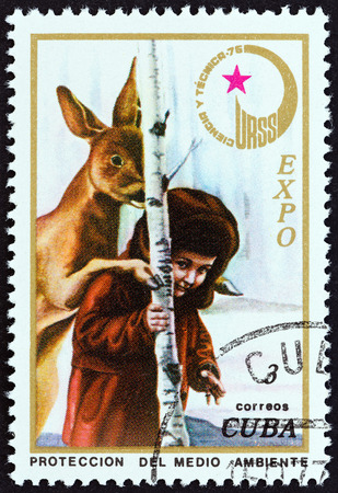 environmental science: CUBA - CIRCA 1976: A stamp printed in Cuba from the Expo, Havana, Soviet Science and Technology  issue shows child, doe Environmental protection, circa 1976.