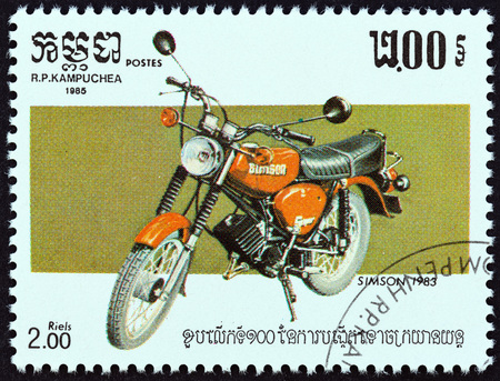 timbre: KAMPUCHEA - CIRCA 1985: A stamp printed in Kampuchea from the 100th Anniversary of the Motorcycle  issue shows Simson, 1983, circa 1985. Editorial