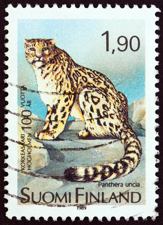 irbis: FINLAND - CIRCA 1989: A stamp printed in Finland from the Centenary of Helsinki Zoo  issue shows Snow Leopard Panthera uncia, circa 1989.