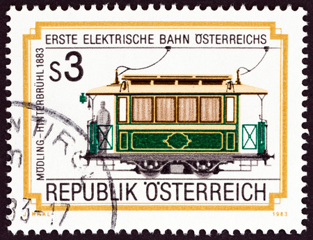 electric tram: AUSTRIA - CIRCA 1983: A stamp printed in Austria issued for the centenary of Modling Hinterbruhl Electric Railway shows Tram No. 5, 1883, circa 1983. Editorial