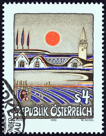 sello: AUSTRIA - CIRCA 1983: A stamp printed in Austria from the Austrian Modern Art  issue shows Evening Sun in Burgenland Gottfried Kumpf, circa 1983.