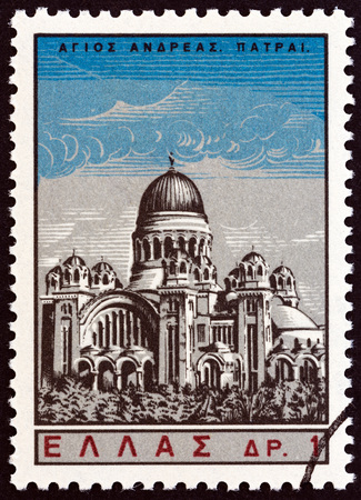 estampilla: GREECE - CIRCA 1965: A stamp printed in Greece from the Saint Andrew  issue shows St. Andrews church, Patras, circa 1965. Editorial