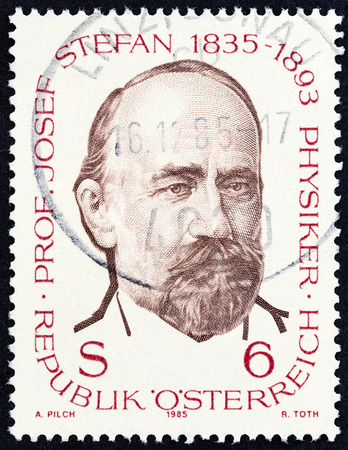 physicist: AUSTRIA - CIRCA 1985: A stamp printed in Austria issued for the 150th birth anniversary of Josef Stefan physicist shows Josef Stefan, circa 1985.
