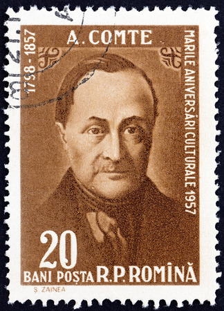 centenary: ROMANIA - CIRCA 1958: A stamp printed in Romania issue shows Auguste Comte philosopher, death centenary, circa 1958.