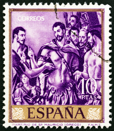 estampilla: SPAIN - CIRCA 1961: A stamp printed in Spain from the Paintings by El Greco  issue shows the Martyrdom of St. Maurice, circa 1961.