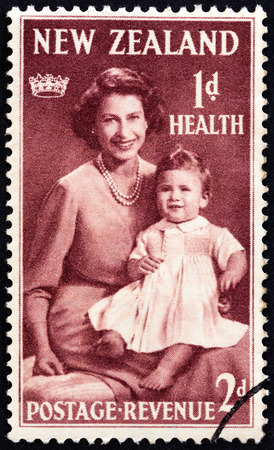 queen elizabeth: NEW ZEALAND - CIRCA 1950: A stamp printed in New Zealand from the Health Stamps  issue shows Queen Elizabeth II and Prince Charles, circa 1950.