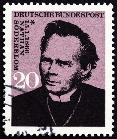 bundespost: GERMANY - CIRCA 1966: A stamp printed in Germany issued for the birth centenary of Nathan Soderblom, Archbishop of Uppsala shows Nathan Soderblom, circa 1966.