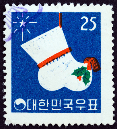 shocks: SOUTH KOREA - CIRCA 1960: A stamp printed in South Korea from the Christmas and New Year Issue  issue shows Festival Stocking, circa 1960.