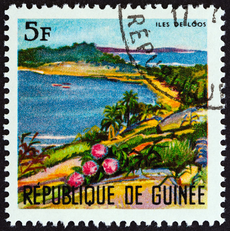 GUINEA - CIRCA 1967: A stamp printed in Guinea from the Landscapes  issue shows Loos Islands, circa 1967.