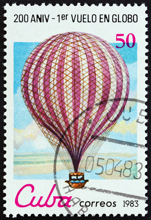 manned: CUBA - CIRCA 1983: A stamp printed in Cuba from the Bicentenary of Manned Flight  issue shows flight J.Blanchard across English Channel, 1785, circa 1983.