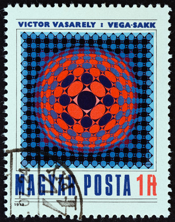 estampilla: HUNGARY - CIRCA 1979: A stamp printed in Hungary from the Modern Art  issue shows Vega-Chess Victor Vasarely, circa 1979. Editorial