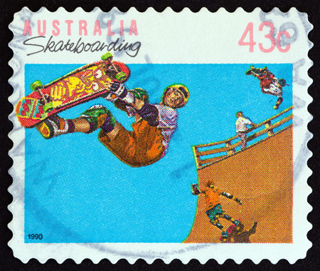 AUSTRALIA - CIRCA 1990: A stamp printed in Australia from the Sports  issue shows skateboarding, circa 1990.