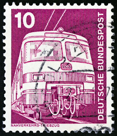 bundespost: GERMANY - CIRCA 1975: A stamp printed in Germany from the Industry and Technology issue shows Electric train, circa 1975.
