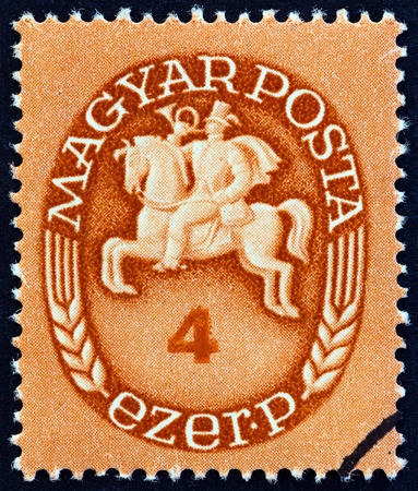 posthorn: HUNGARY - CIRCA 1946: A stamp printed in Hungary shows Post Rider, circa 1946.